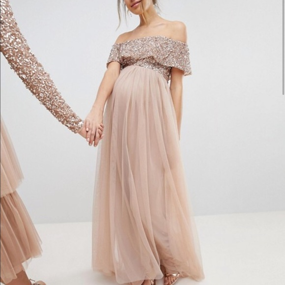 c8de607210666 ASOS Maternity Dresses & Skirts - ASOS Maya Maternity Bardot Sequin Top  Tulle Dress